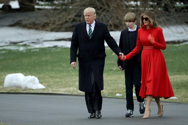 Мелания, Дональд и Бэррон Трамп