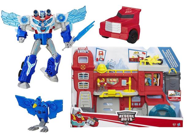 «Роботы под прикрытием: Заряженый Оптимус Прайм» и игровой набор «Трансформеры спасатели: Штаб спасателей»