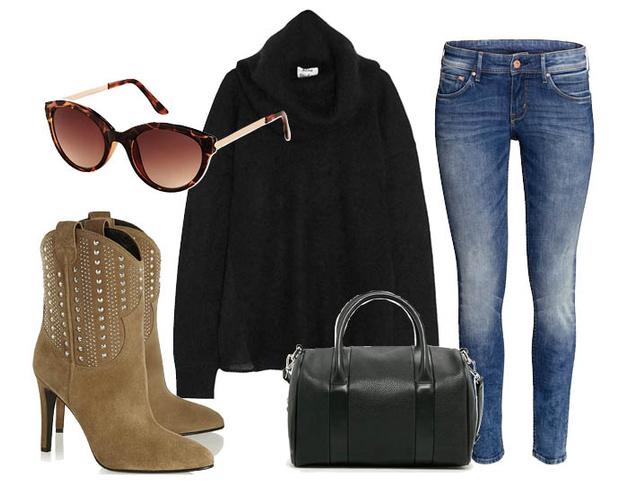 Вязаный свитер Acne Studios, джинсы H&M, замшевые ботильоны Saint Laurent, сумка Mango, солнцезащитные очки TopShop
