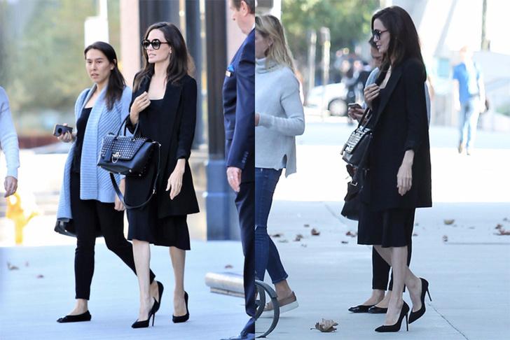 Снова в черном: идеальный деловой образ на примере Анджелины Джоли фото [3]