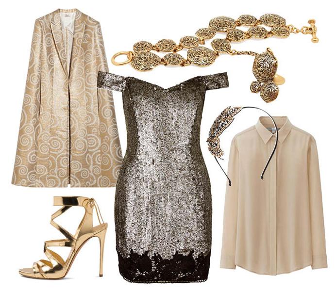 Что носить с платьем в паетках