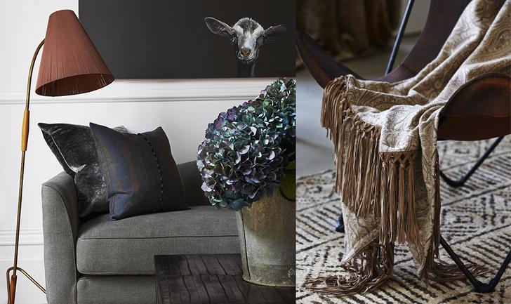 Кожаное кресло, de Le Cuona. Плед Watercolour, шерсть с добавлением хлопка; Африканский пейзаж — фото дизайнера.