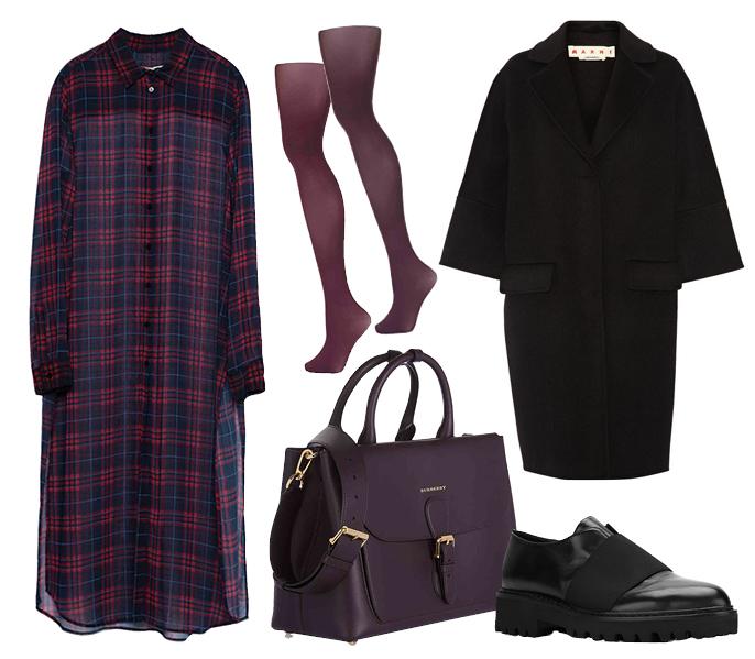 Выбор ELLE: броги A.F. Vandevorst, колготки TopShop, пальто Marni, сумка Burberry