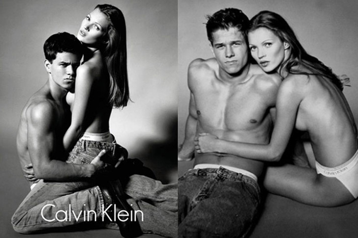 Кейт Мосс и Марк Уолберг в рекламе Calvin Klein