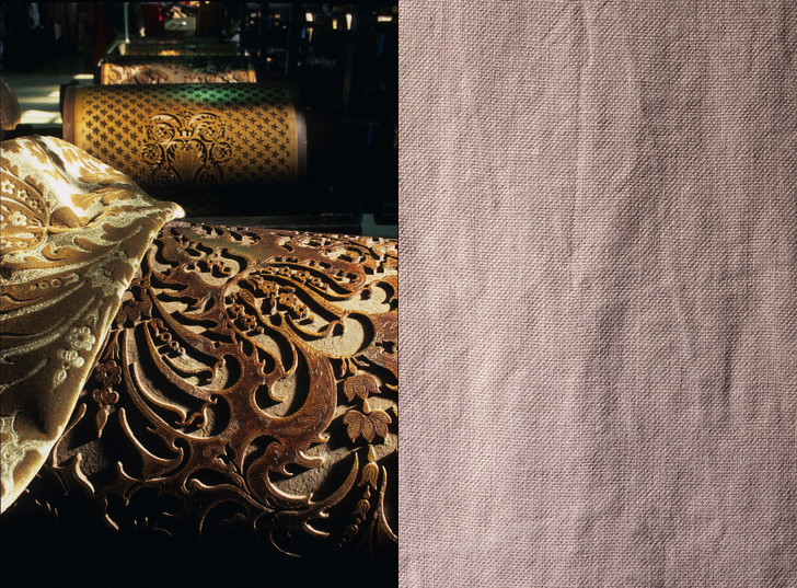 Штамп и пресс для декоративного тиснения ткани; Лен Buffalo, цвет Wild.
