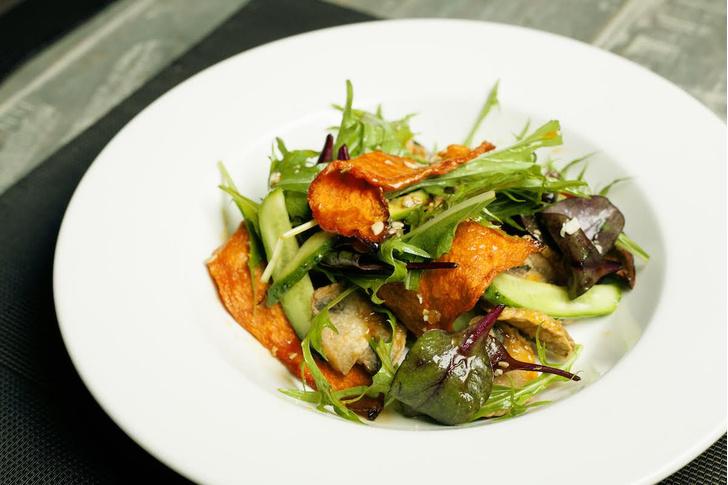 Салат из вяленой тыквы с жареными шампиньонами летние салаты с фото