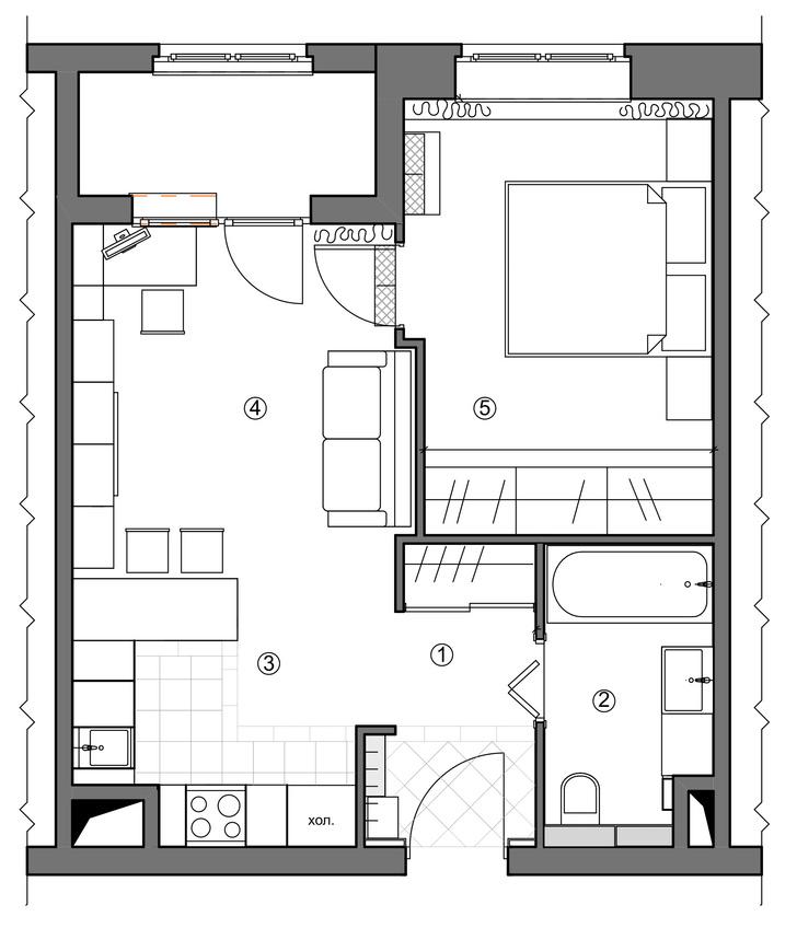 Идеальный баланс: квартира 38 м² для двоих в Москве (фото 12)