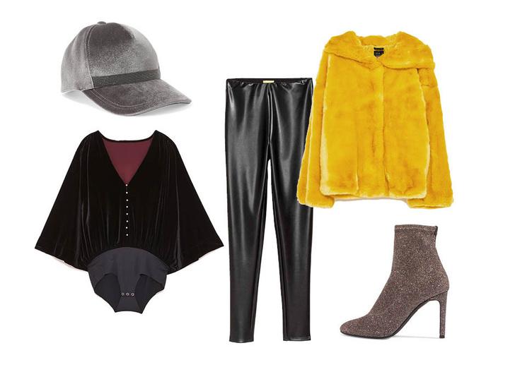 Выбор ELLE: ботильоны Giuseppe Zanotti, боди Zara, леггинсы H&M Studio, кепка Brunello Cucinelli