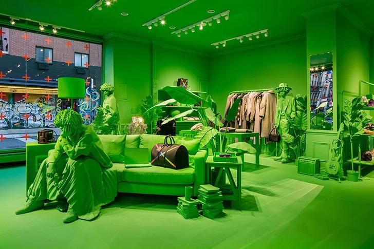 Ярко-зеленый pop-up бутик Louis Vuitton в Нью-Йорке (фото 6)