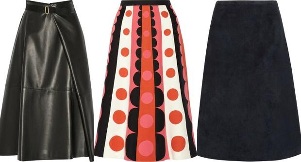 Выбор ELLE: кожаная юбка The Row, юбка с ярким принтом Valentino, замшевая юбка Theory
