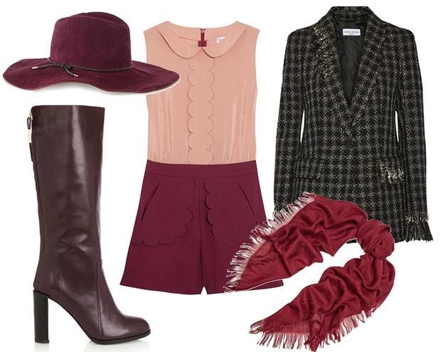 Выбор ELLE: комбинезон RED Valentino, шляпа Emilio Pucci, сапоги See by Chloe, шарф Gucci