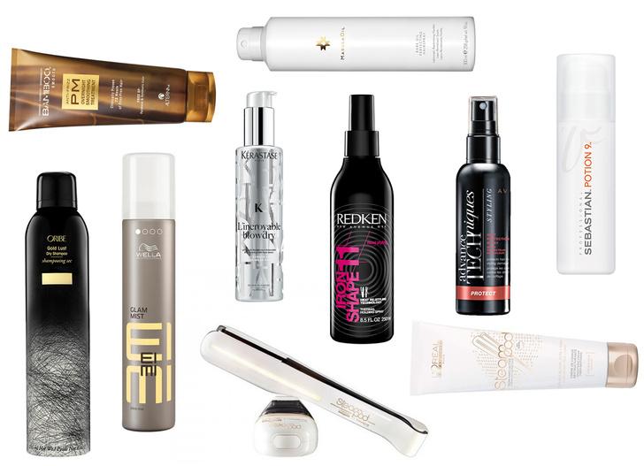 1. Сухой шампунь «Роскошь золота» Oribe Gold Lust Dry Shampoo; 2. Ночной разглаживающий бальзам для волос с экстрактом бамбука ALTERNA Bamboo Smooth Anti-Frizz Pm Overnight Smoothing Treatment; 3. Дымка-спрей для блеска Welal Professional Eimi GLAM MIST; 4. Многофункциональный лосьон для термоукладки Kerastase L'incroyable Blowdry; 5. Лак для волос Paul Mitchell Marula Rare Oil; 6. Термозащитный спрей-дымка Redken HOT SETS 22; 7. Лосьон-спрей для волос «Термозащита» Avon; 8. Комфортный стайлинг + уход-кондиционер Sebstian POTION 9; 9. Стайлер для домашнего использования Steampod и легкий крем для разглаживания волос L'Oreal Professionel
