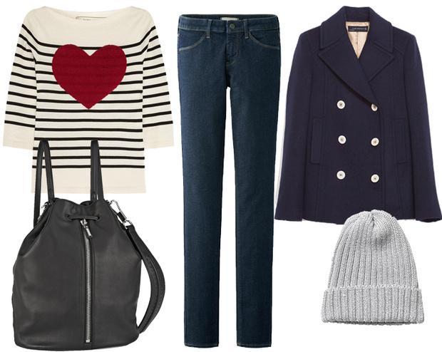 Пальто Zara, топ Marc Jacobs, джинсы Uniqlo, шапка Monki, рюкзак Elizabeth and James